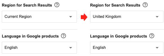 google-region-language