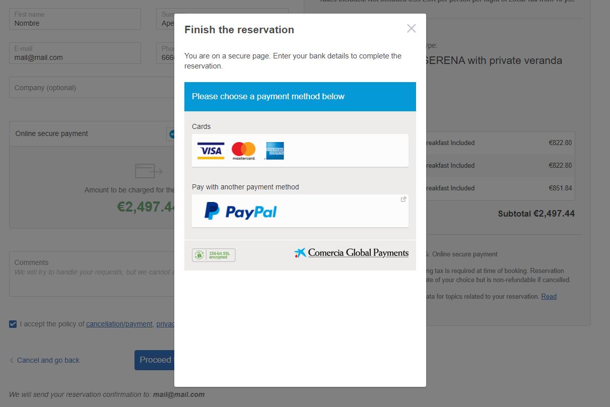 Iframe payment - reservation proccess Mirai