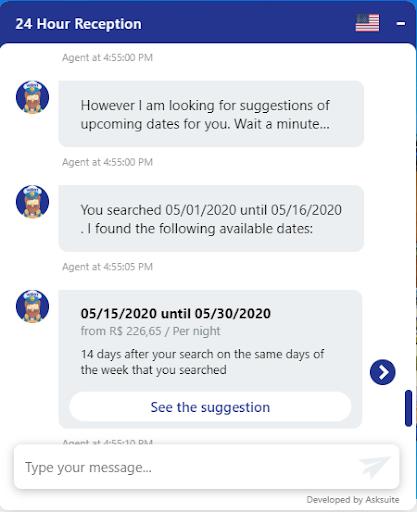 alternative dates - Asksuite chatbot - Mirai Booking Engine